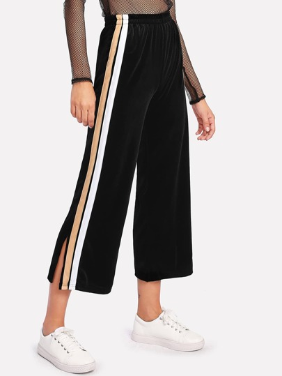 Velvet Contrast Stripe Side Wide Leg Pants