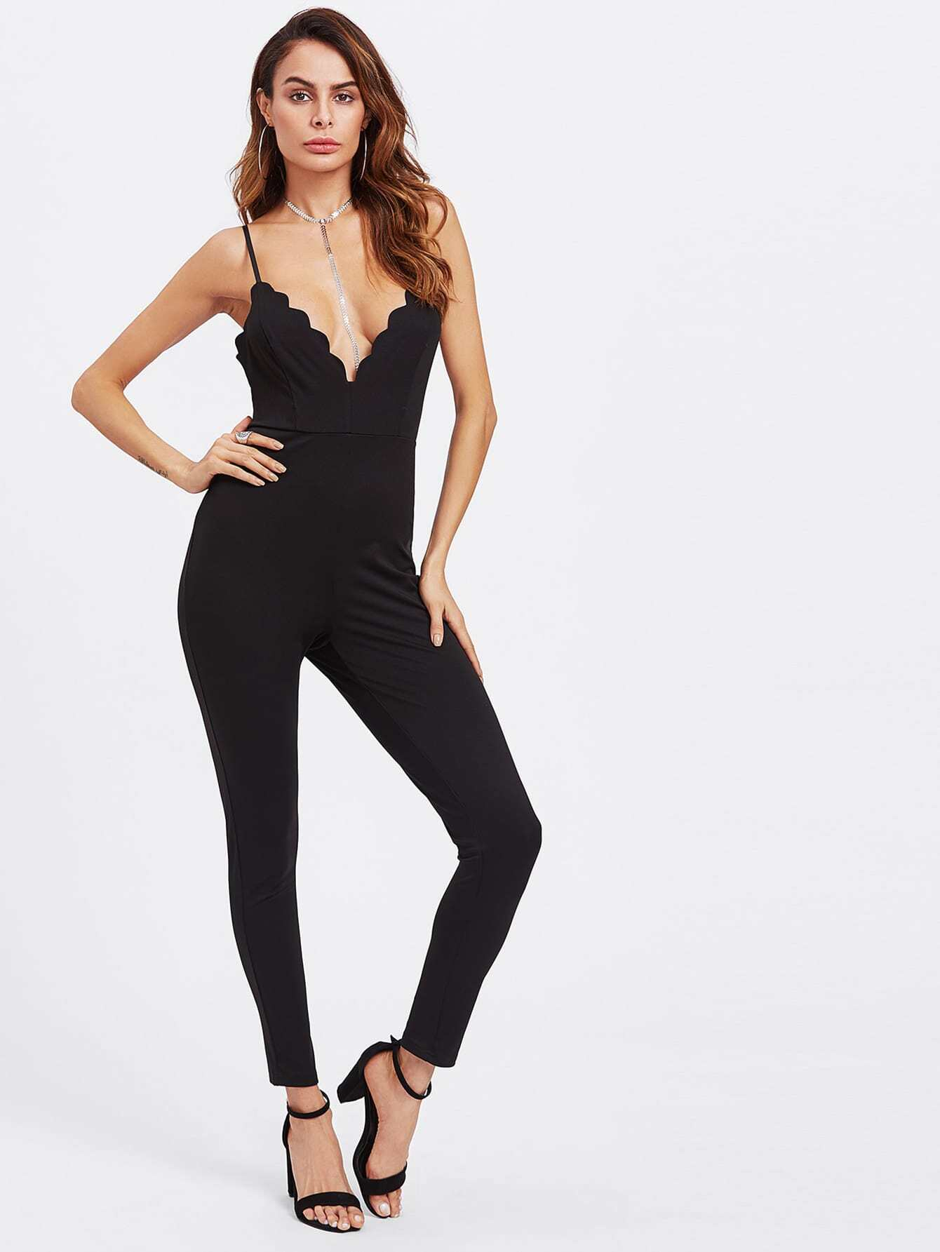 цены Scalloped Plunge Neck Crisscross Unitard Jumpsuit