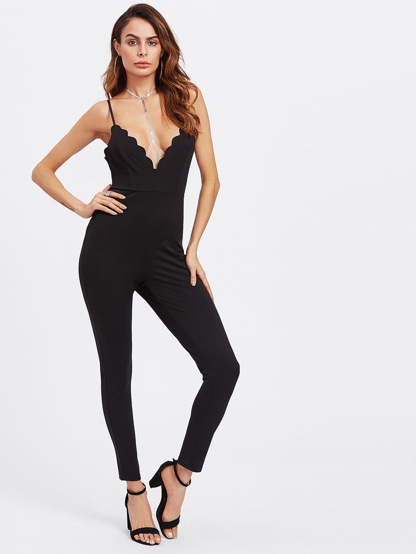 Scalloped Plunge Neck Crisscross Unitard Jumpsuit джинсы escada sport escada sport es006ewykk45