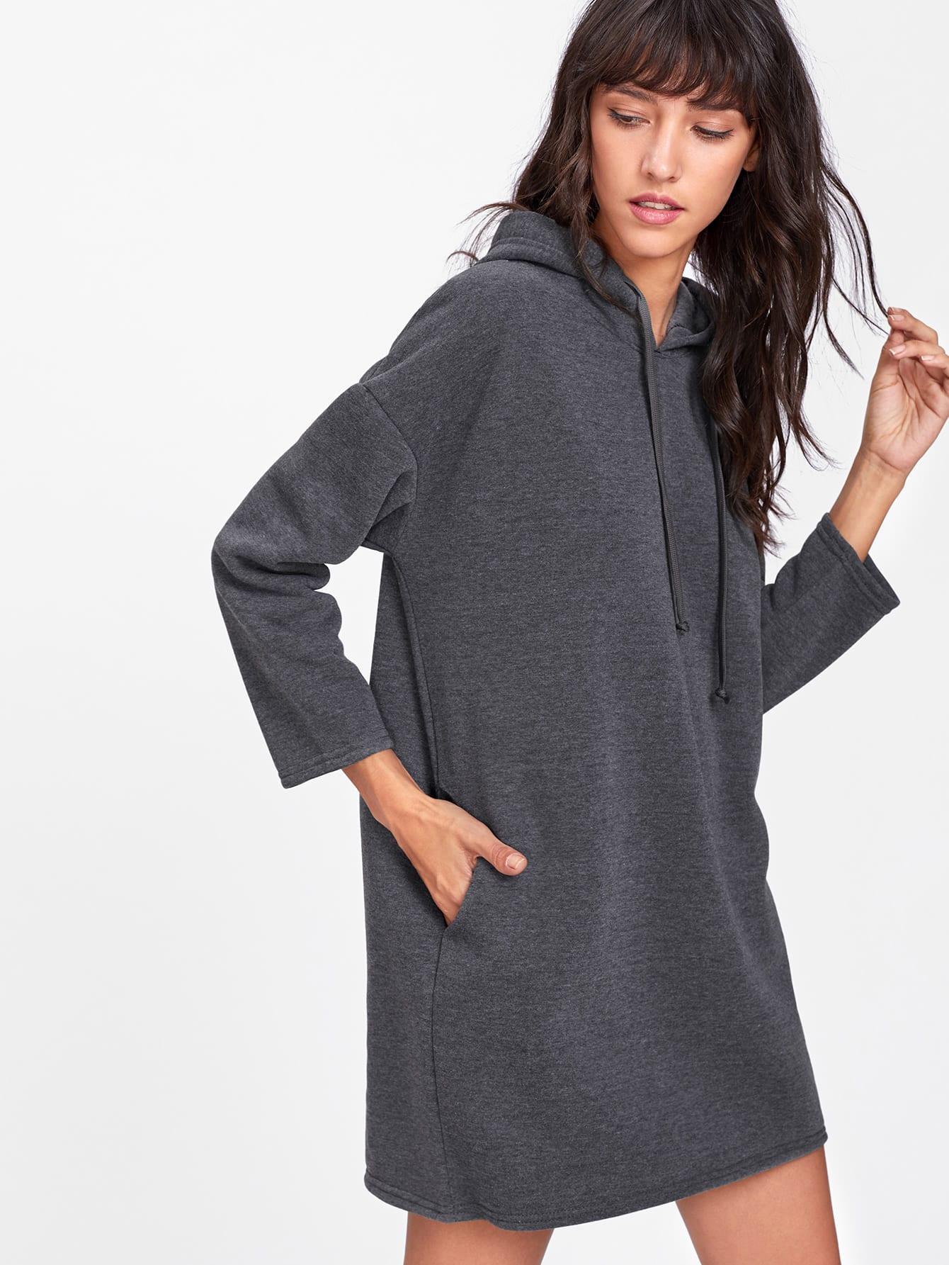Drawstring Hooded Sweatshirt Dress alien print drop shoulder hooded drawstring sweatshirt