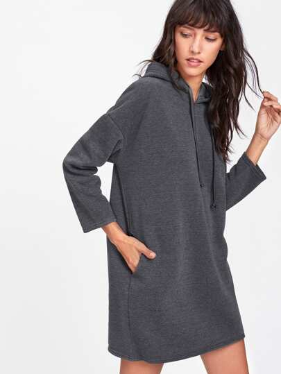 Drawstring Hooded Sweatshirt Dress
