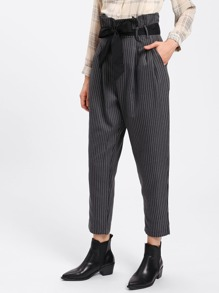 Striped Tapered Pants With Belt