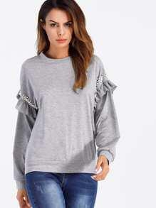 Faux Pearl Ruffle Sleeve Sweatshirt