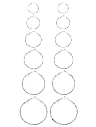 Mixed Sized Design Hoop Earring Set