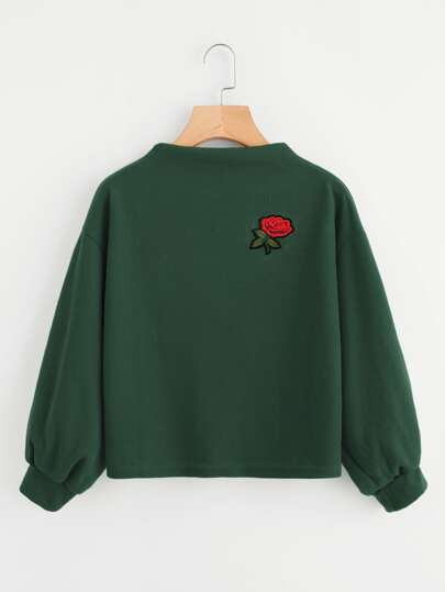 Embroidered Applique Lantern Sleeve Sweatshirt