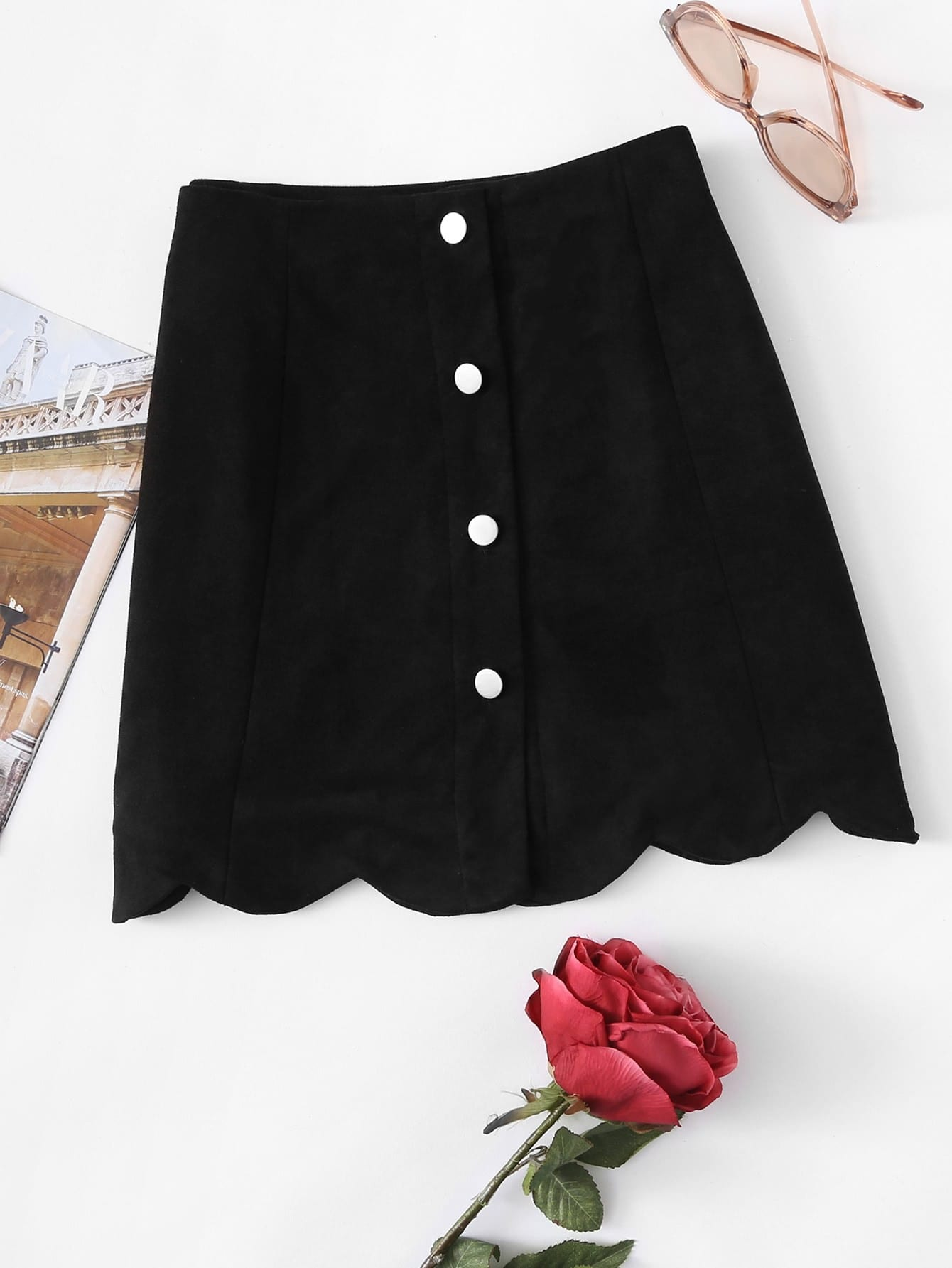 Scallop Hem Single Breasted Suede Skirt ruffle waist zip back scallop hem embroidered gingham skirt