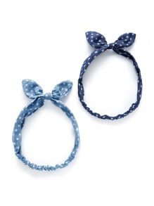 Star Print Knot Ear Headband 2pcs