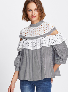 Guipure Lace Yoke And Flounce Striped Top