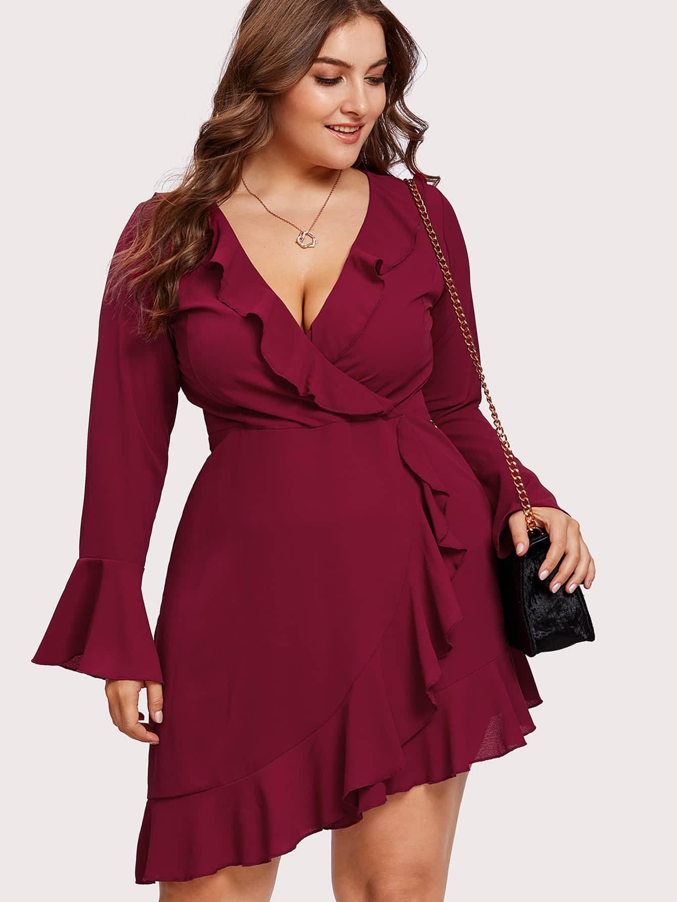 Купить Модное платье с запахом и оборкой, Franziska, SheIn