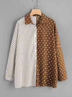 Drop Shoulder Mixed Print Shirt