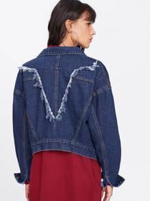 Raw Trim Back Drop Shoulder Jacket