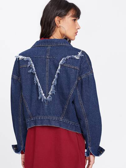 Raw Trim Back Drop Shoulder Jacket