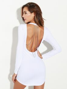 Open Back Chain Detail Bodycon Dress