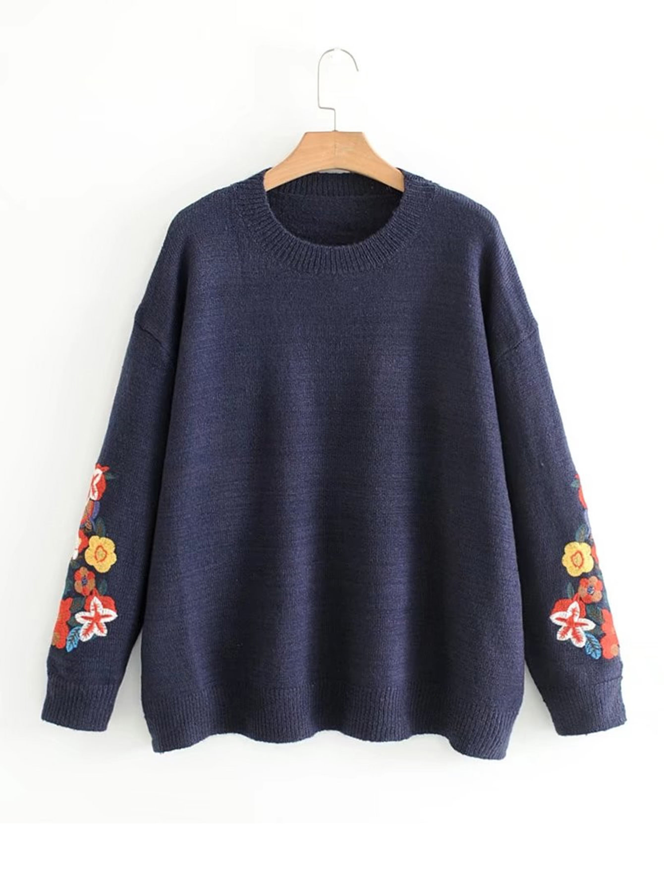 Embroidery Flower Jumper Sweater бра colosseo 21409 3 albani