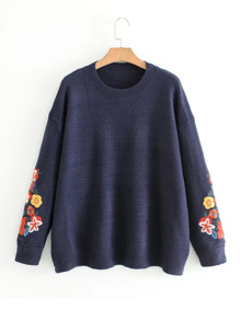 Embroidery Flower Jumper Sweater