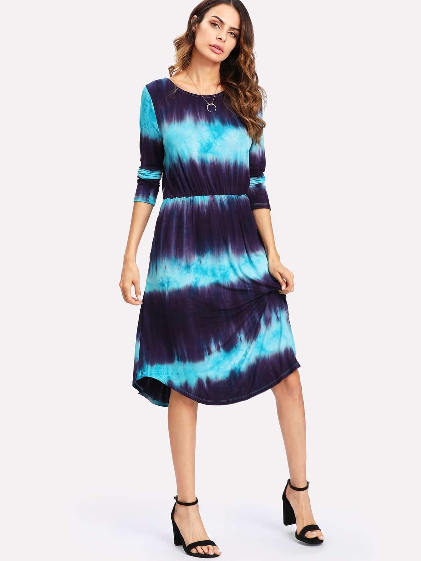 Tie Dye Stripe Print Elastic Waist Dress tie dye trim kangaroo pocket dress