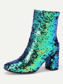 Sequin Overlay Chunky Heeled Ankle Boots