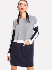 Patch Pocket Front Color Block Sweatshirt Dress
