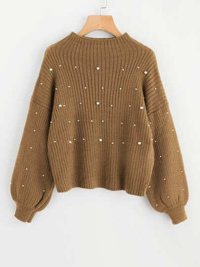 Pearl Beading Lantern Sleeve Ribbed Sweater