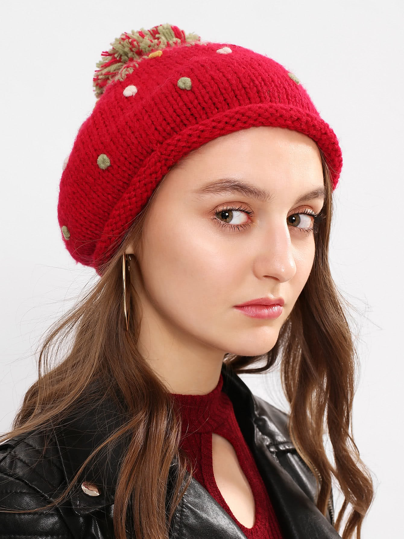 Pom Pom Knit Beanie Hat unisex winter plicate baggy beanie knit crochet ski hat cap red