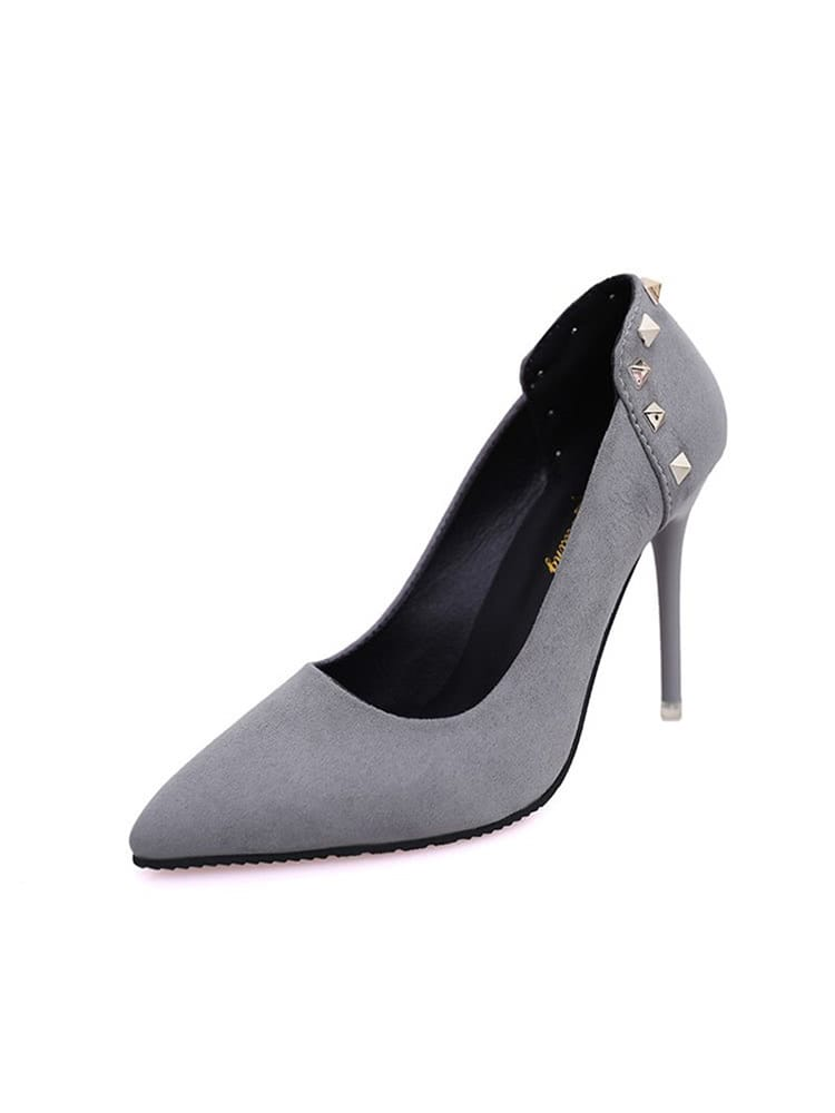 Rivet Studded Point Toe Pumps