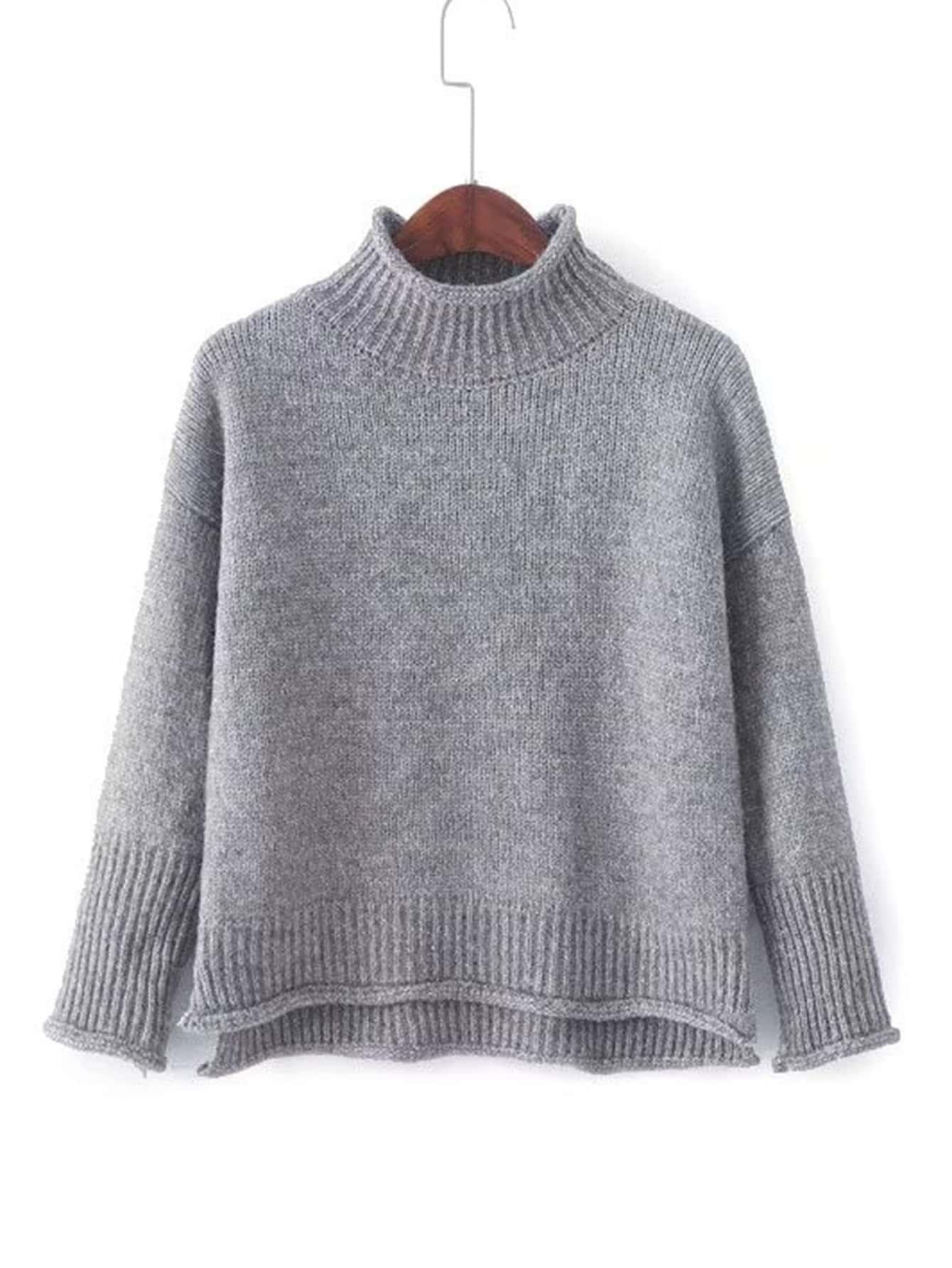 Rib Trim Rolled Sweater sweater171101204