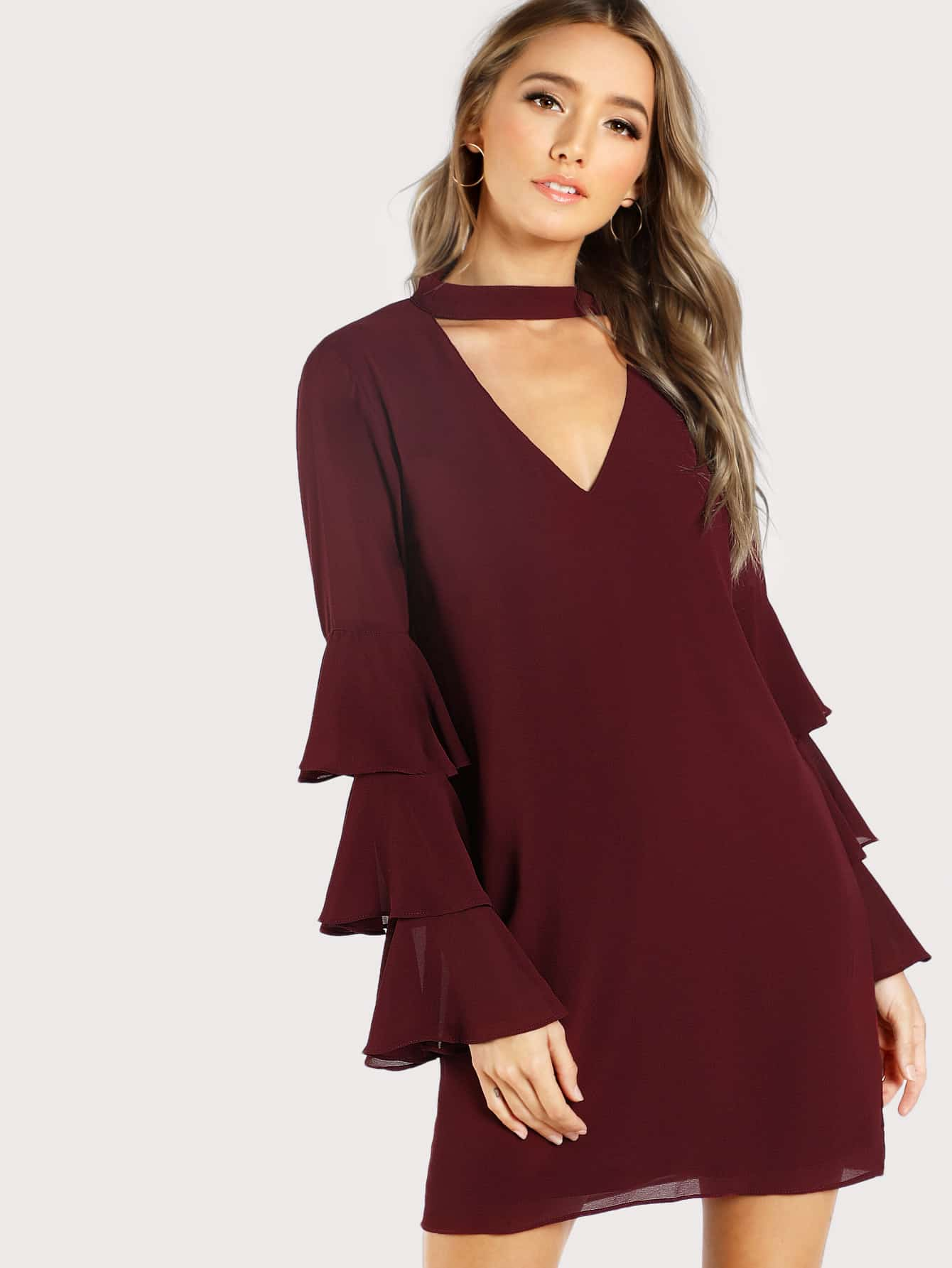 Choker Neck Layered Bell Sleeve Dress