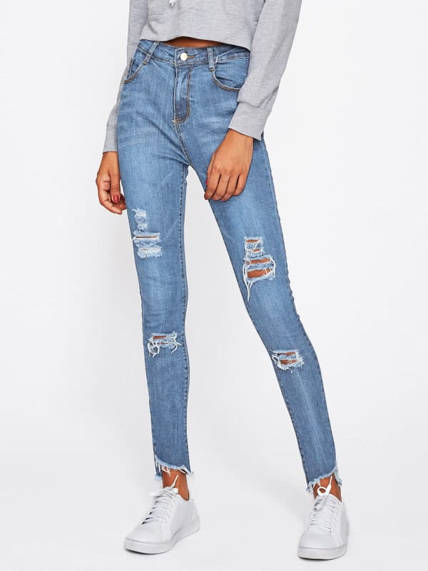 Frayed Hem Ripped Jeans frayed ripped skirted jeans