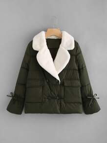 Contrast Faux Fur Collar Padded Coat
