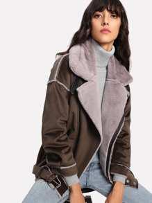 Faux Fur Lined Suede Jacket