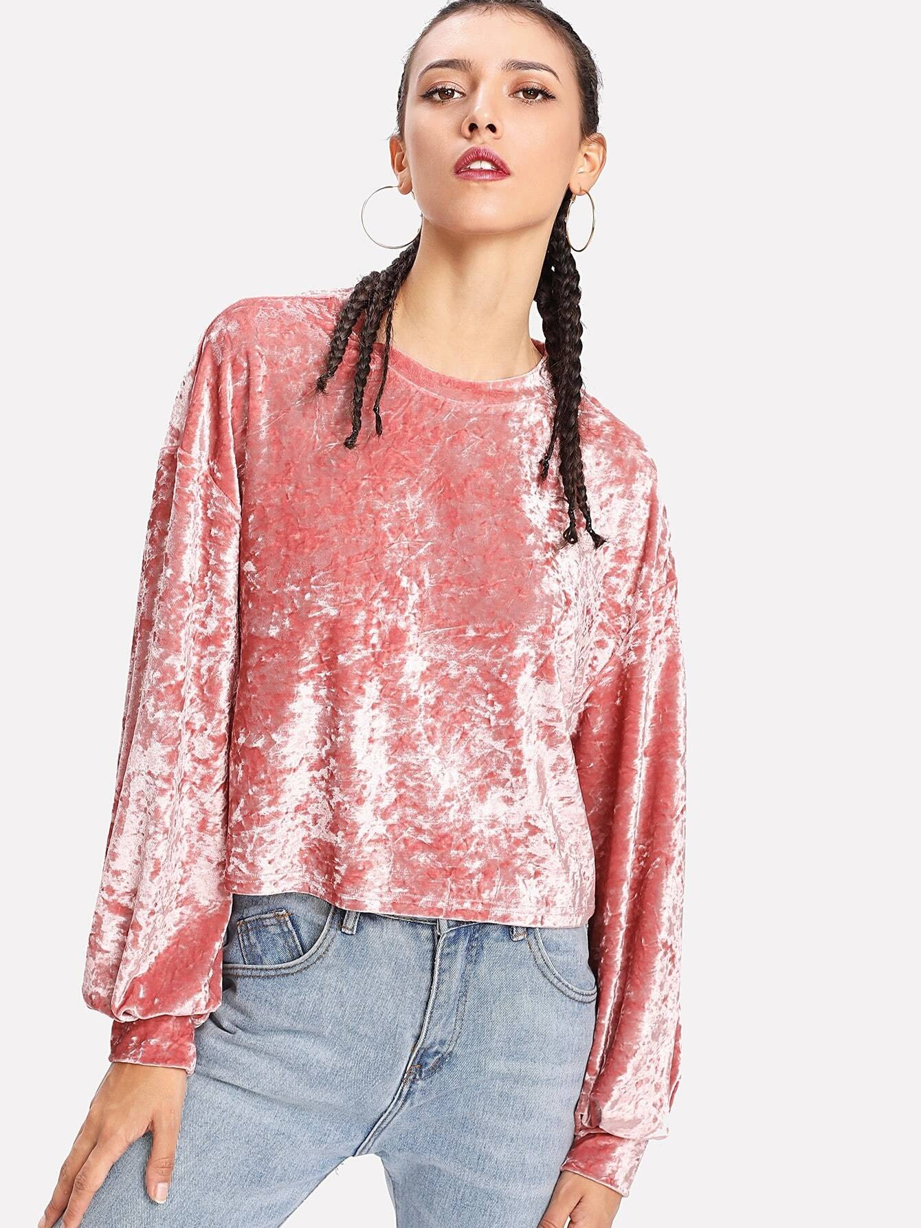 Drop Shoulder Crushed Velvet Tee two tone drop shoulder tee