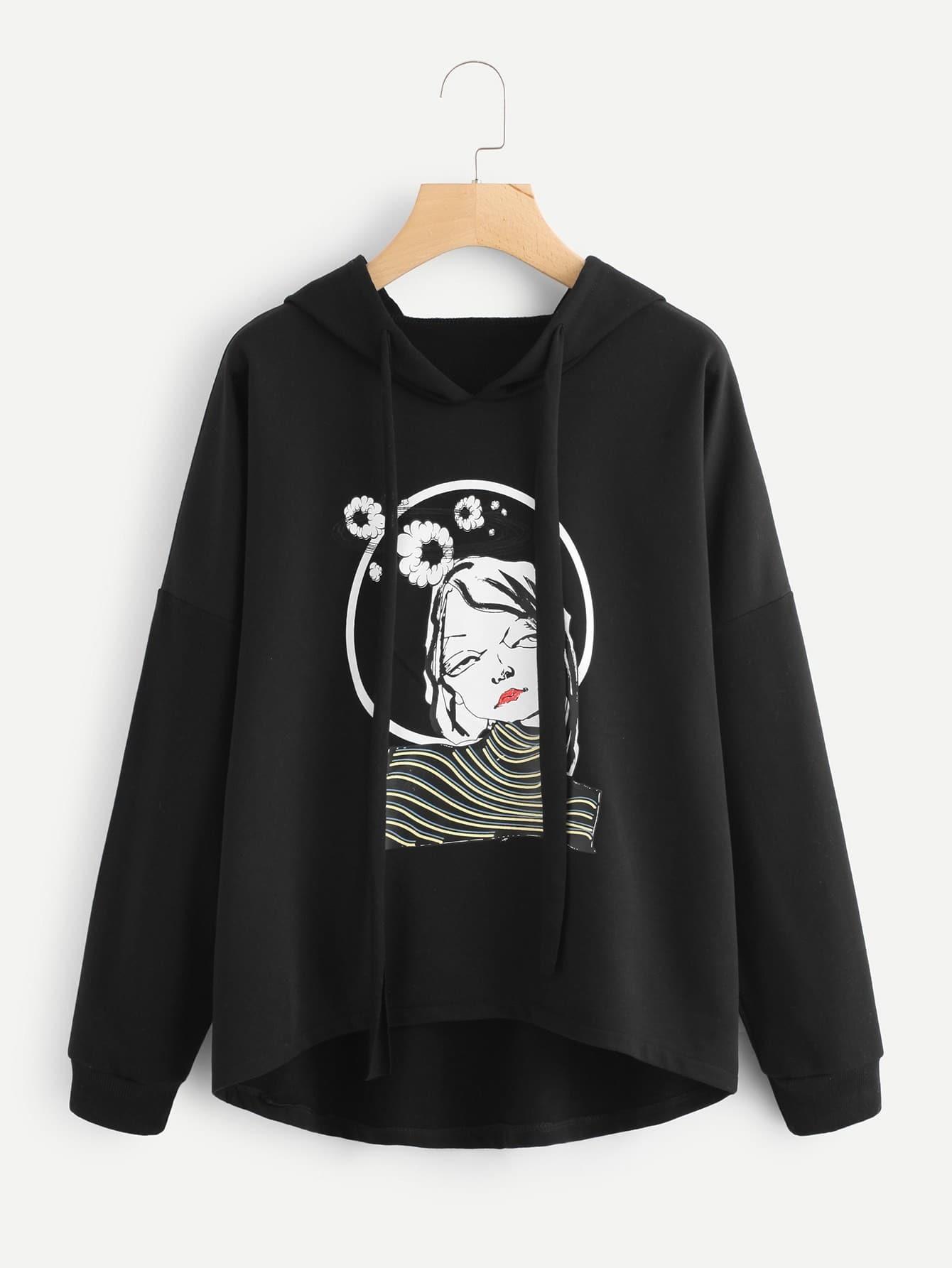 Girl Print Drop Shoulder Hoodie two tone drop shoulder sweatshirt