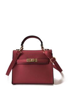 Twist Lock Detail PU Shoulder Bag