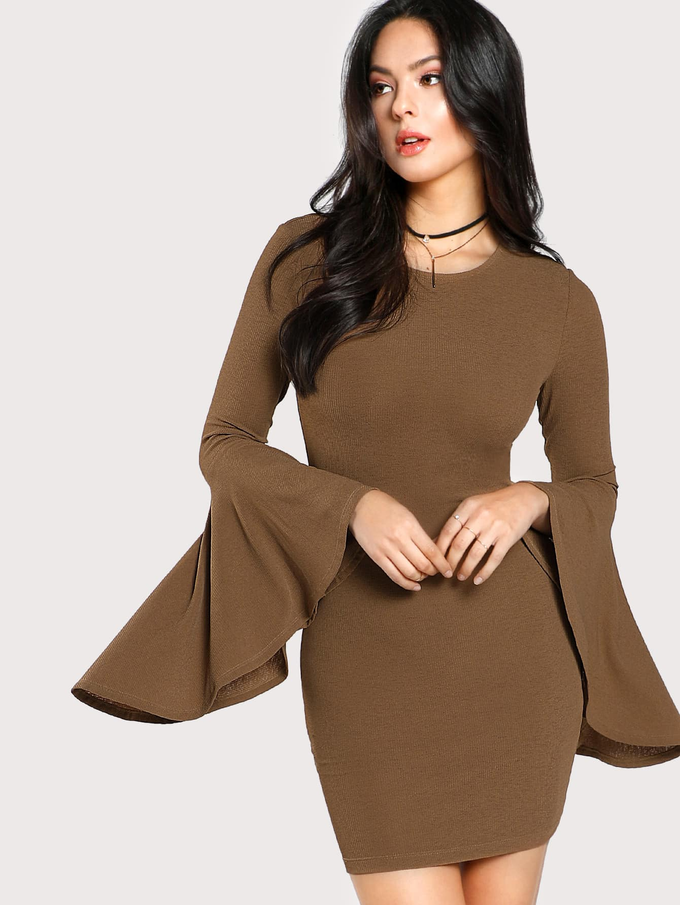 Exaggerate Fluted Sleeve Rib Knit Dress v notch pearl leaf chain detail fluted sleeve dress