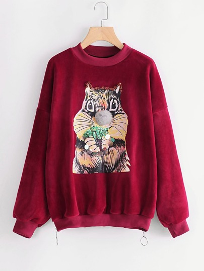 Squirrel Print Side Zipper Velvet Sweatshirt