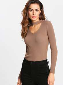 V Cut Choker Neck Ribbed Tee