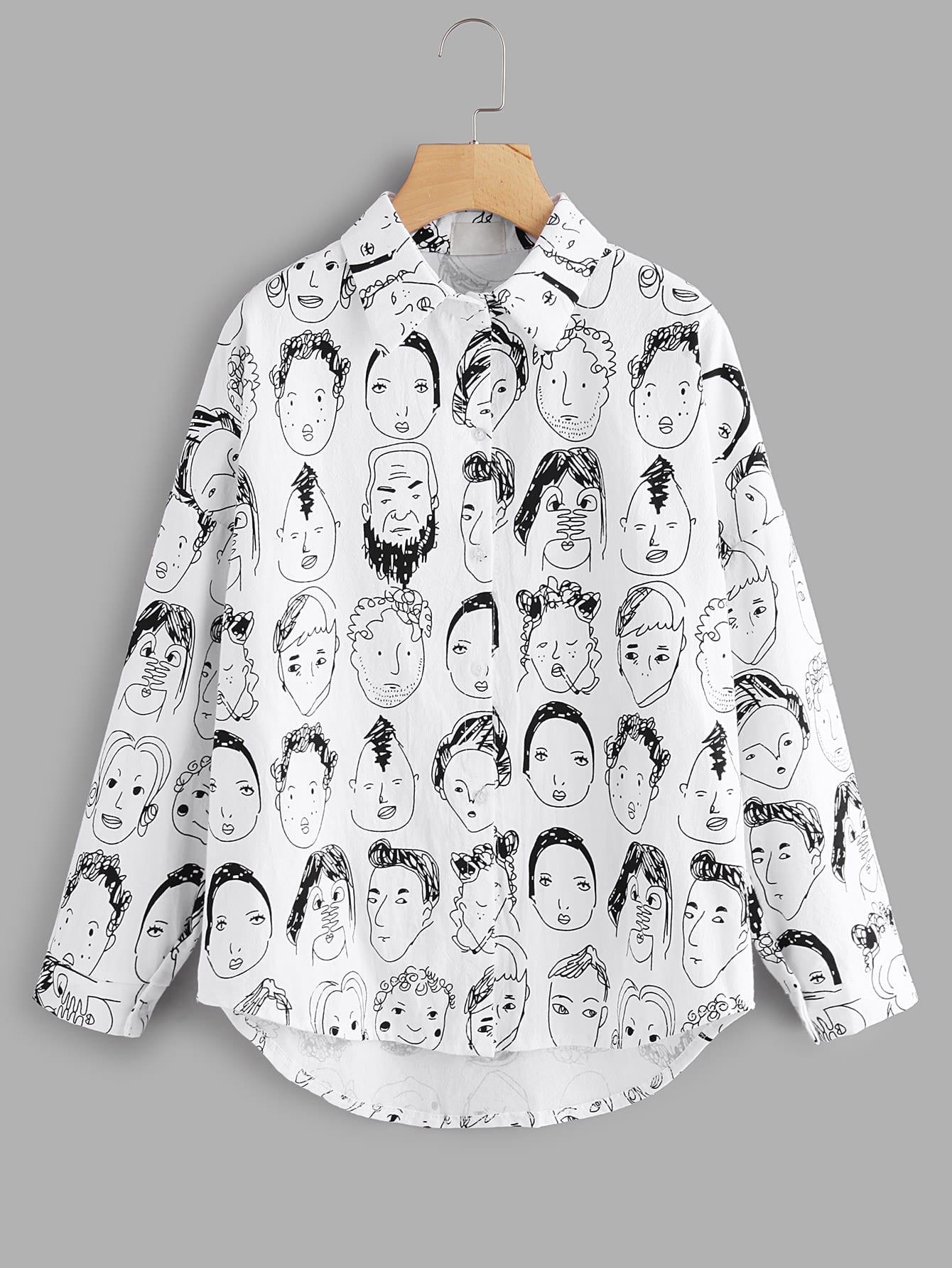 Bluse mit Abbildungmuster und Einreiher