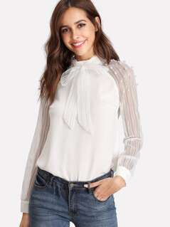 Pearl Embellished Striped Mesh Sleeve Top