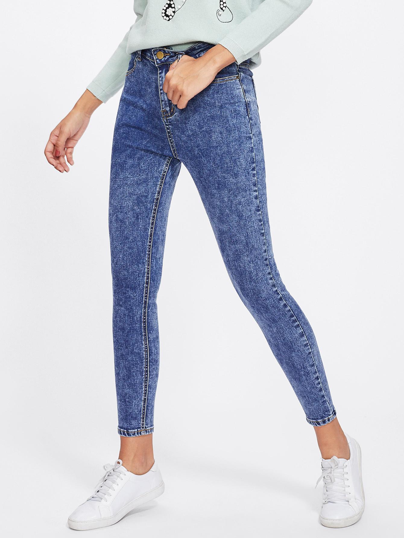 Bleach Wash Skinny Crop Jeans