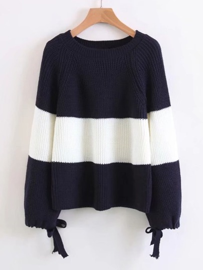 Block Striped Tied Cuff Sweater