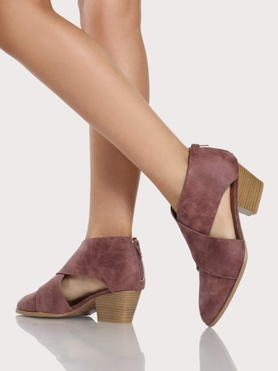 Cross Front Side Cut Out Zip Up Booties ROSE TAUPE