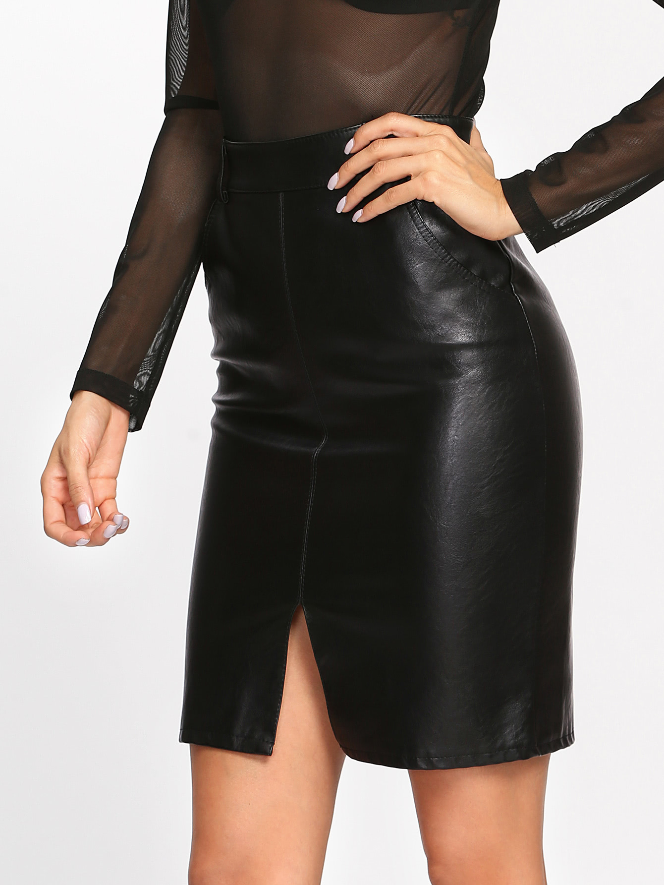 Faux Leather Slit Front Skirt faux leather pleated skirt in black