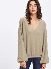 Pearl Embellished Sleeve Pullover