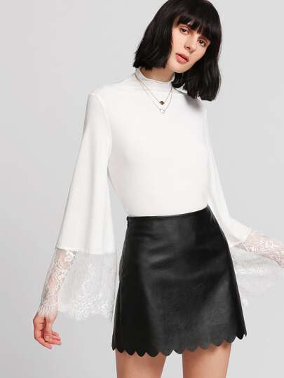 Lace Trim Fluted Sleeve Top