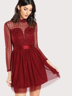 Lace Insert Polka Dot Mesh Dress
