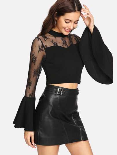 Trumpet Sleeve Lace Sweetheart Crop Top