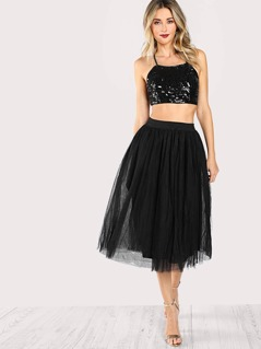 Sequined Spaghetti Strap Crop Top & Matching Skirt Set BLACK