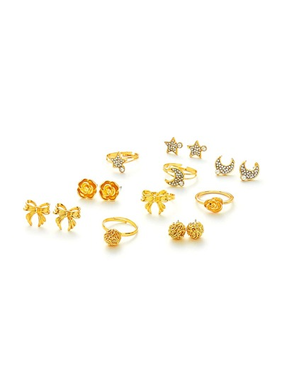 Moon & Flower Design Ring & Earring Set