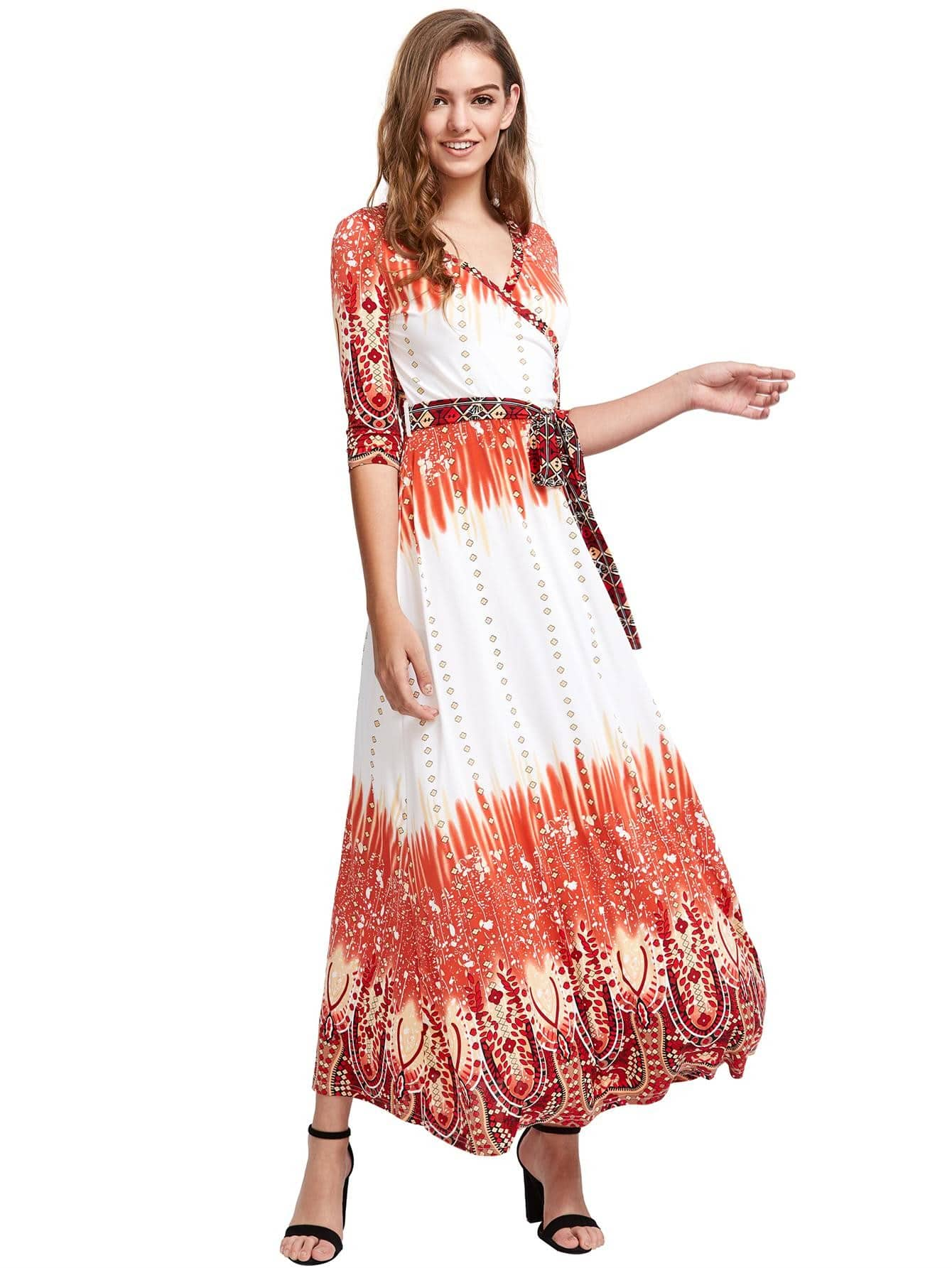 Tie Waist Wrap Maxi Dress