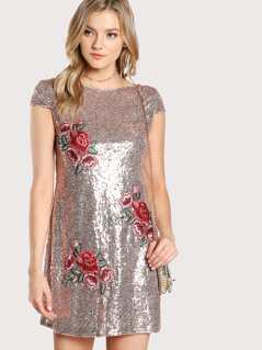 Embroidery Patch Sequin Dress
